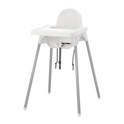 АНТИЛОП Высокий стульчик со столешницей, белый серебристый