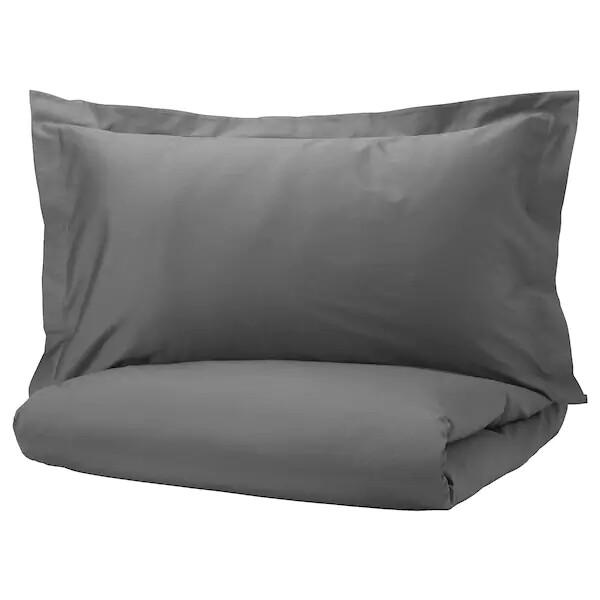 ЛЮКТЭСМИН Пододеяльник и 1 наволочка, темно-серый, 150x200/50x70 см