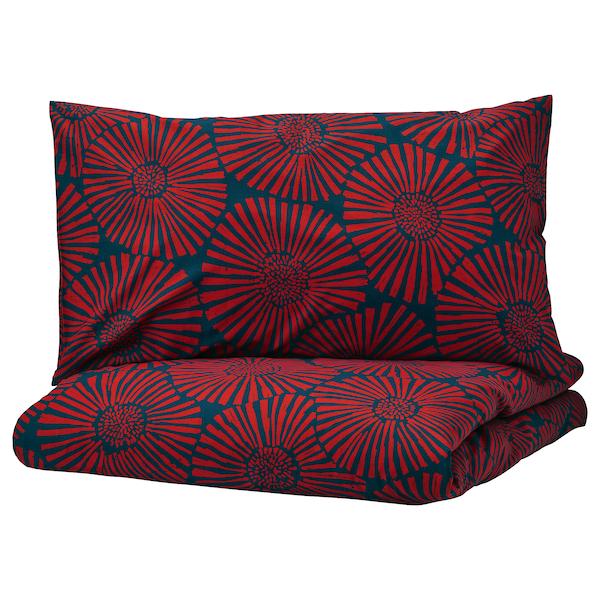 СТЭРНТЮЛЬПАН Пододеяльник и 2 наволочки, темно-синий, красный, 200x200/50x70 см