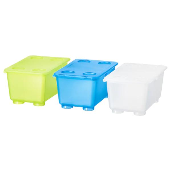 ГЛИС Контейнер с крышкой, белый/светло-зеленый, синий, 17x10 см