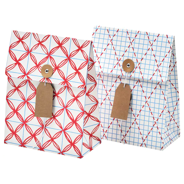 ВИНТЕР 2019 Подарочный пакет, белый, синий с рисунком, 10x26 см/2.5 л