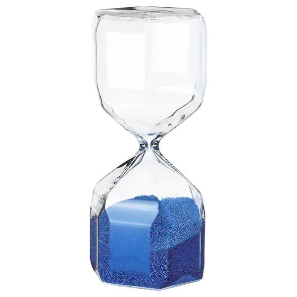 ТИЛЛСЮН Декоративные песочные часы, прозрачное стекло, синий, 16 см