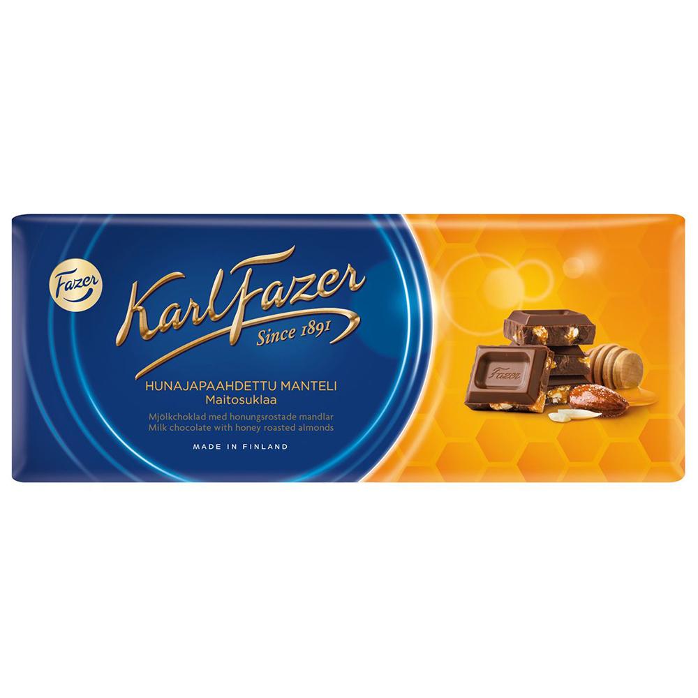 Шоколад молочный FAZER с жареным миндалем и медом, 200 г