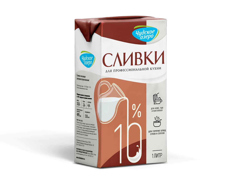 """Сливки питьевые ультрапастеризованные """"Чудское озеро"""" 10%, 1л."""