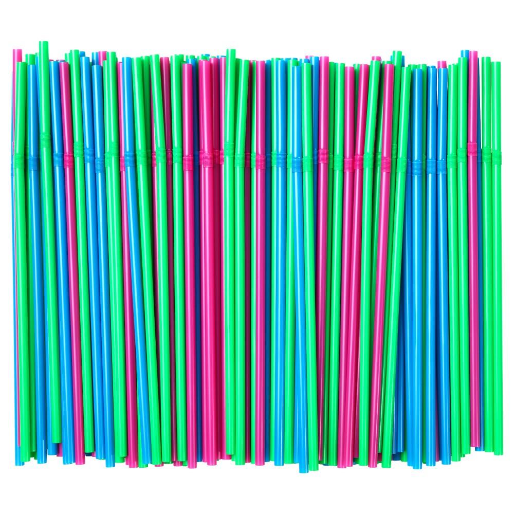 СОДА Трубочка, зеленый флуоресцентный, ярко-синий/ярко-розовый/200 шт