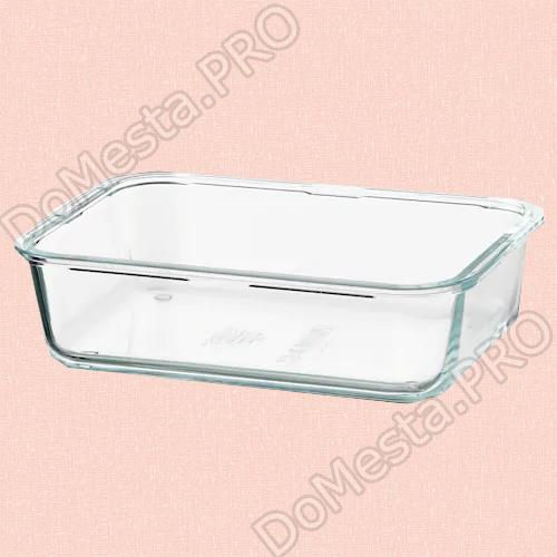 Контейнер для продуктов, прямоугольн формы, стекло, 1.0 л