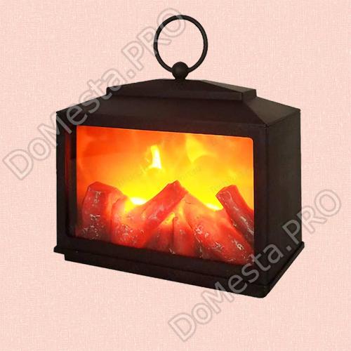"""Светодиодный камин с эффектом живого огня """"Сканди"""" 18*9*16 см."""