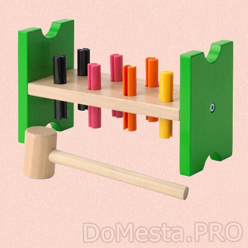 МУЛА Блок с колышками и молотком, разноцветный