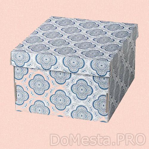 СМЕКА Коробка с крышкой, с рисунком, 26x32x17 см