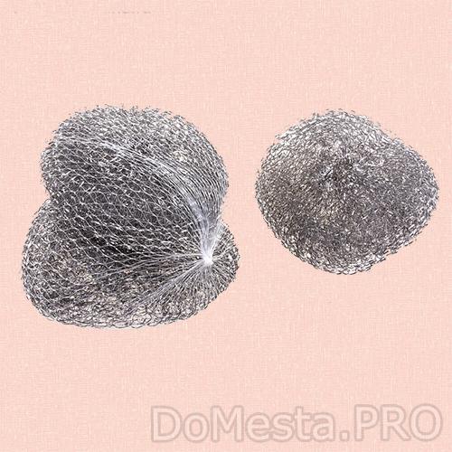 Набор  металлических губок для чистки посуды, 12 гр, 3 шт