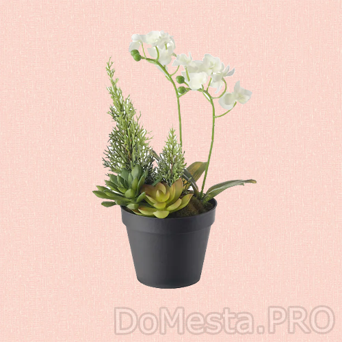 ВИНТЕРФЕСТ Искусственное растение в горшке, оформление, Орхидея белый, 12 см