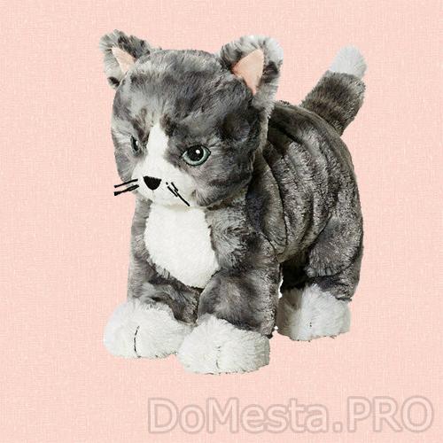 Мягкая игрушка ЛИЛЛЕПЛУТТ, кот серый, белый
