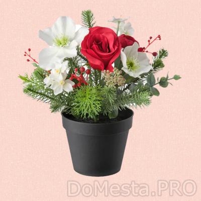 ВИНТЕРФЕСТ Искусственное растение в горшке, оформление красный/белый, 12 см