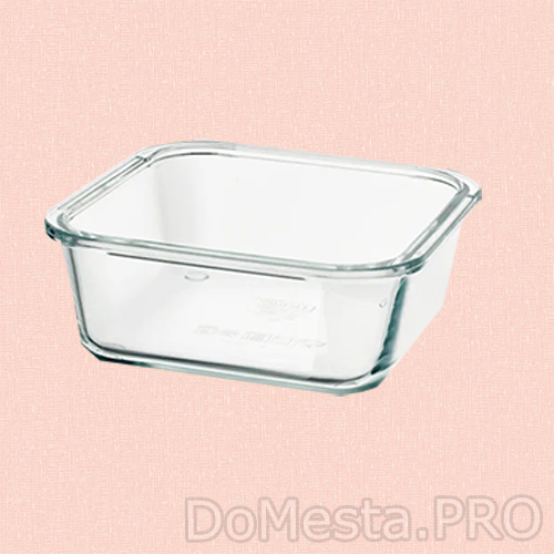Контейнер для продуктов, четырехугольной формы, стекло, 600 мл