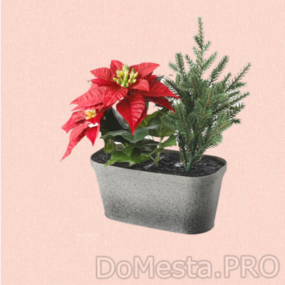 ВИНТЕРФЕСТ Искусственное растение и кашпо, оформление, овал красный