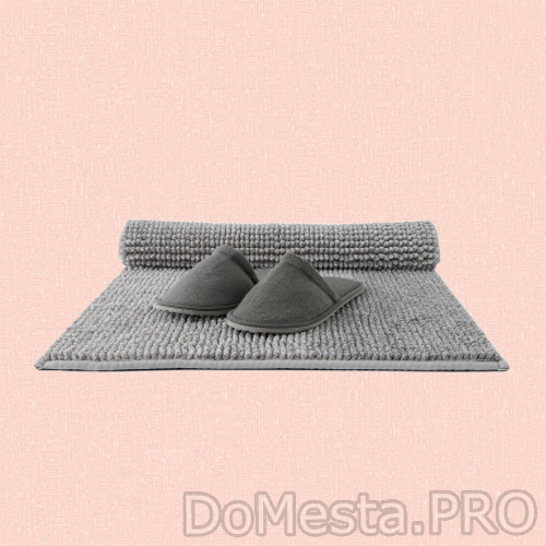 ТОФТБУ Коврик для ванной, бежево-белый меланж, 50x80 см