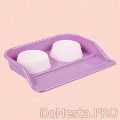 """Набор: миски+ лоток """"Феликс"""", 0,3 л 41 x 30 x 6 см, фиолетовый"""