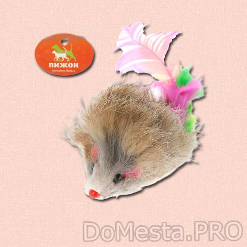Мышь из натурального меха с хвостом из перьев, 6,5 см, микс цветов