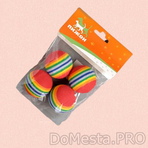 """Набор из 4 игрушек """"Полосатые шарики"""", диаметр шара 3,8 см (малые), микс цветов"""
