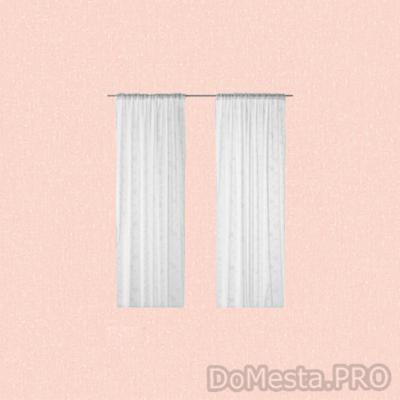 ЭНГЛАЛИ Гардины, 1 пара, белый, цветы, 145x270 см