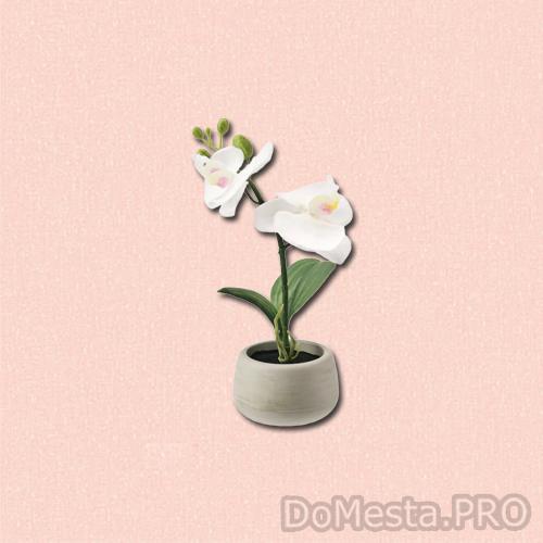 ФЕЙКА Искусственное растение и кашпо, д/дома/улицы, Орхидея белый, 7 см