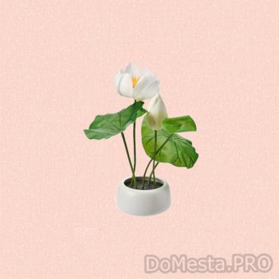 ФЕЙКА Искусственное растение и кашпо, д/дома/улицы, Лотос белый, 18 см