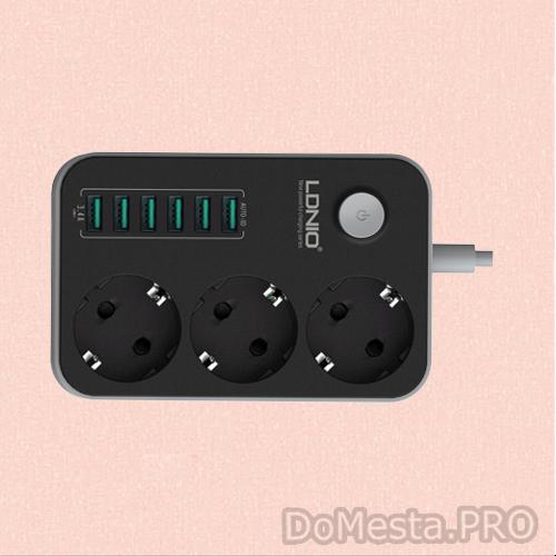 Сетевой фильтр LDNIO на 3 розетки и 6 USB портов, черный