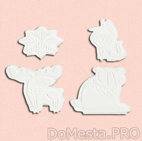 Формочки для печенья, БАКГЛАД , 4 шт., различные формы, белый