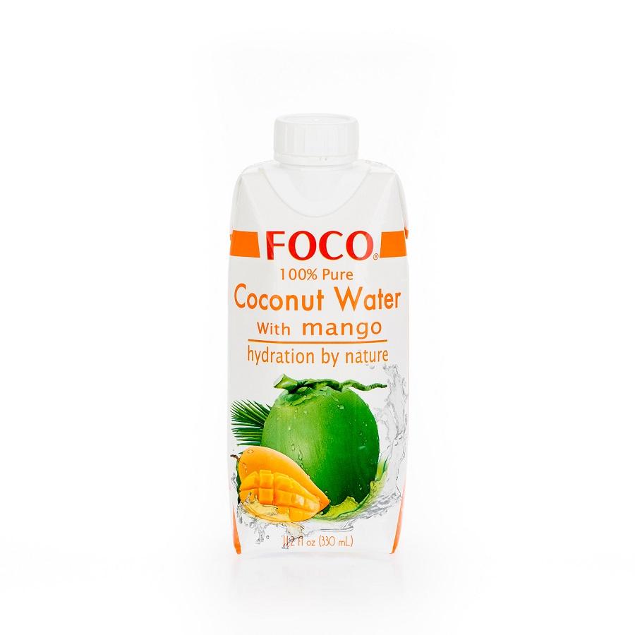 """Кокосовая вода """"FOCO"""" с манго, 0,33 л."""