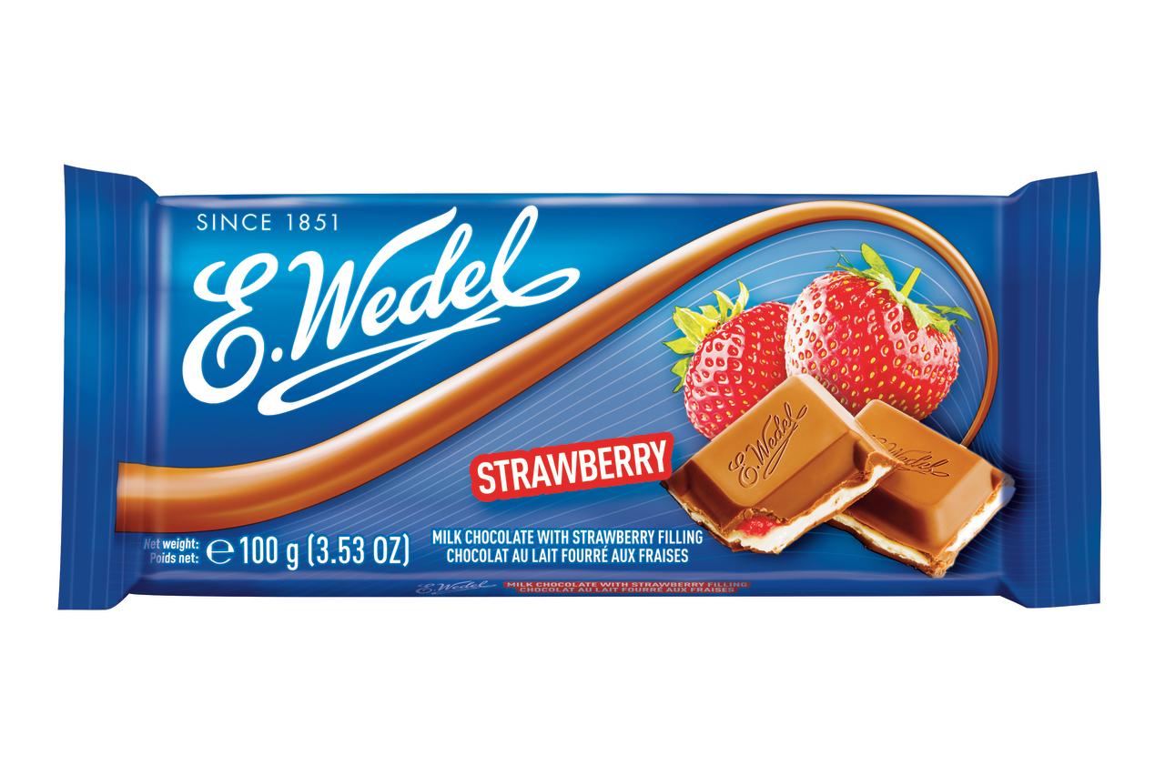 """Молочный шоколад с клубничной начинкой """"E.WEDEL"""", 100 г."""