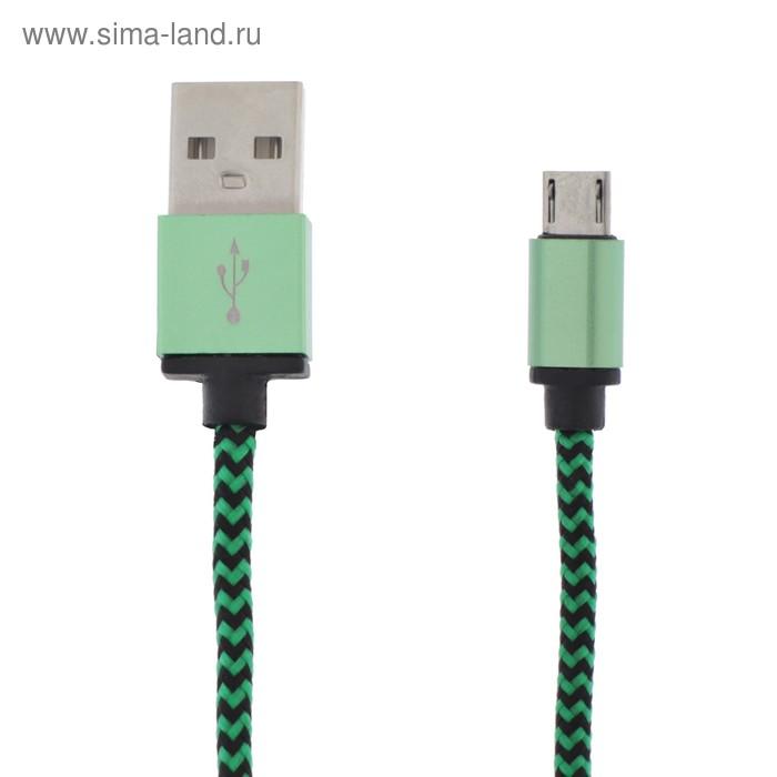 Кабель LuazON, micro USB - USB, 1 А, 1 м, оплётка нейлон, зелёный