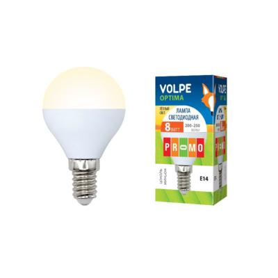 Лампа светодиодная Optima E14 220 В 8 Вт шар матовый 600 лм тёплый белый свет