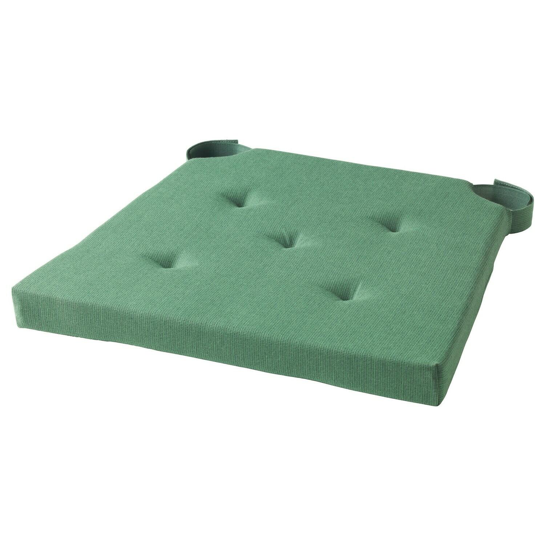 ЮСТИНА Подушка на стул, зеленый 35/42x40x4.0 см