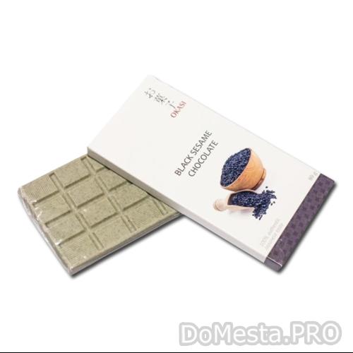 Шоколад с черным кунжутом Okasi 80 гр
