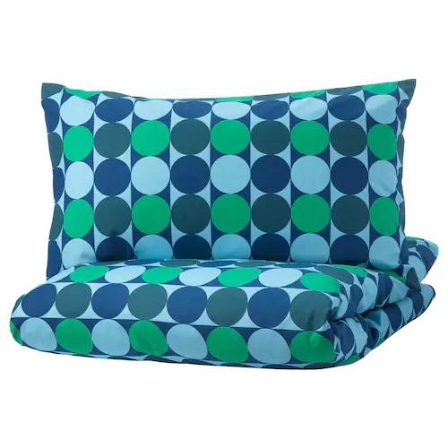 КРОКУСЛИЛЬЯ Пододеяльник и 1 наволочка, синий/зеленый 150x200/50x70 см