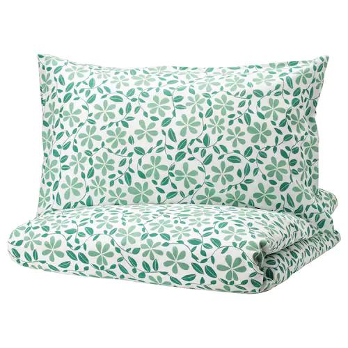 ЮВЕЛЬБЛОММА Пододеяльник и 2 наволочки, белый, зеленый 200x200/50x70 см