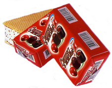 Мороженое Чпок, вишня в шоколаде СЗМЖ, брикет на вафлях 80 г.