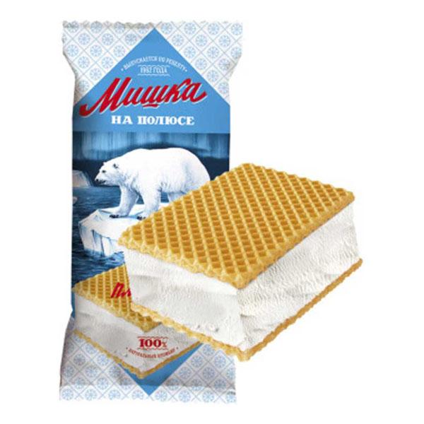 Мороженое Мишка на полюсе, пломбир БЗМЖ, брикет на вафлях 80 г.