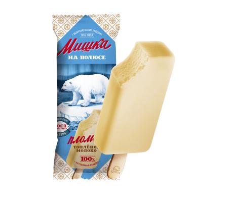 Мороженое Мишка на полюсе, пломбир со вкусом топленого молока БЗМЖ, эскимо 70 г.