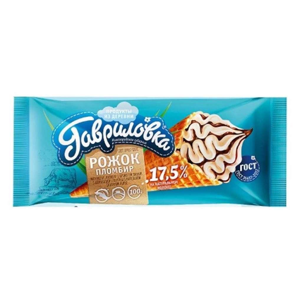 Мороженое Гавриловка, пломбир с шок.гл. БЗМЖ, рожок 100 г.