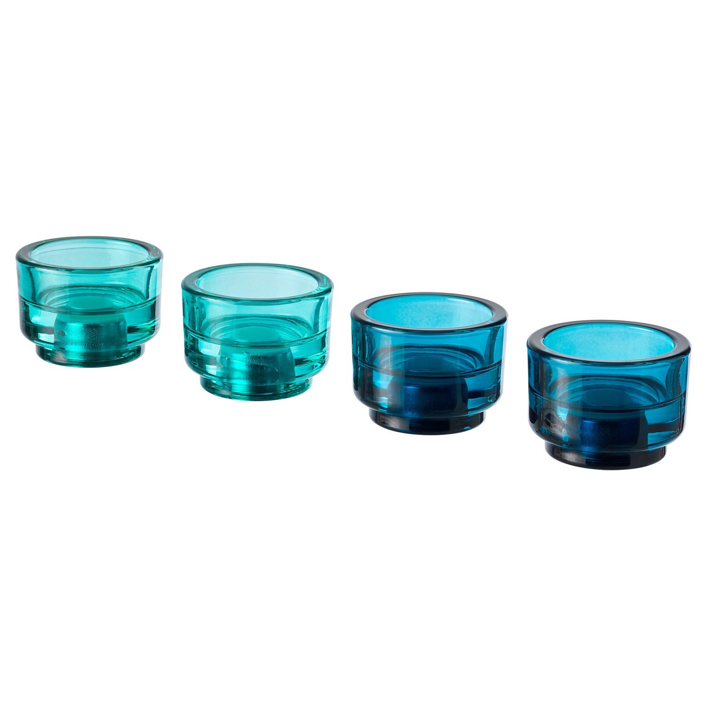 ЭДЕЛЬХЕТ Подсвечник для свечи/греющей свечи, синий, бирюзовый, 5 см