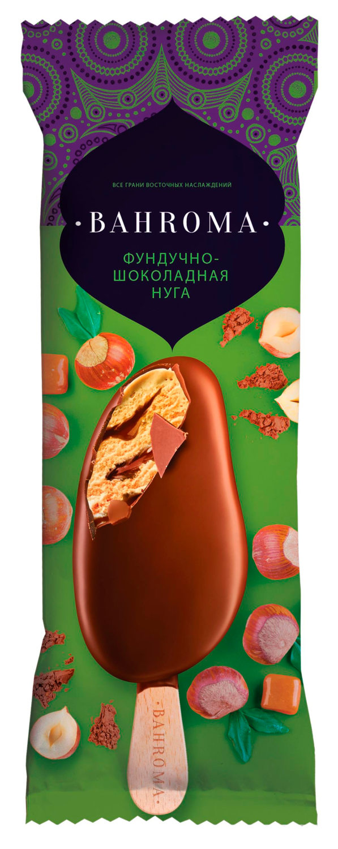 Мороженое BAHROMA, слив. фундучно-шоколадная нуга в мол.шок. БЗМЖ, эскимо 70 г.