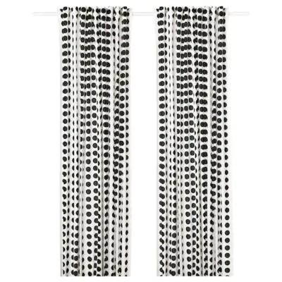 КЛАРАСТИНА Гардины, 1 пара, белый/черный 145x300 см