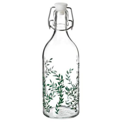 КОРКЕН Бутылка с пробкой, прозрачное стекло, с рисунком зеленый 0.5 л