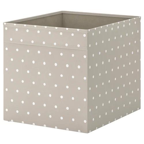 ДРЁНА Коробка, бежевый, точечный 33x38x33 см
