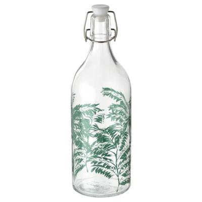 КОРКЕН Бутылка с пробкой, прозрачное стекло, с рисунком 1 л