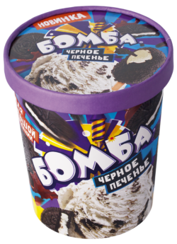 Мороженое Бомба Бум, ванильн. с крош.печенья и шок.топпингом СЗМЖ, ведро бум. 450 г.