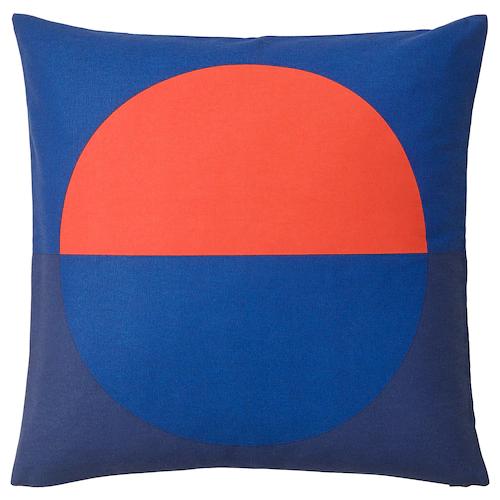 МАЙЯЛОТТА Чехол на подушку, синий, ярко-оранжевый 50x50 см