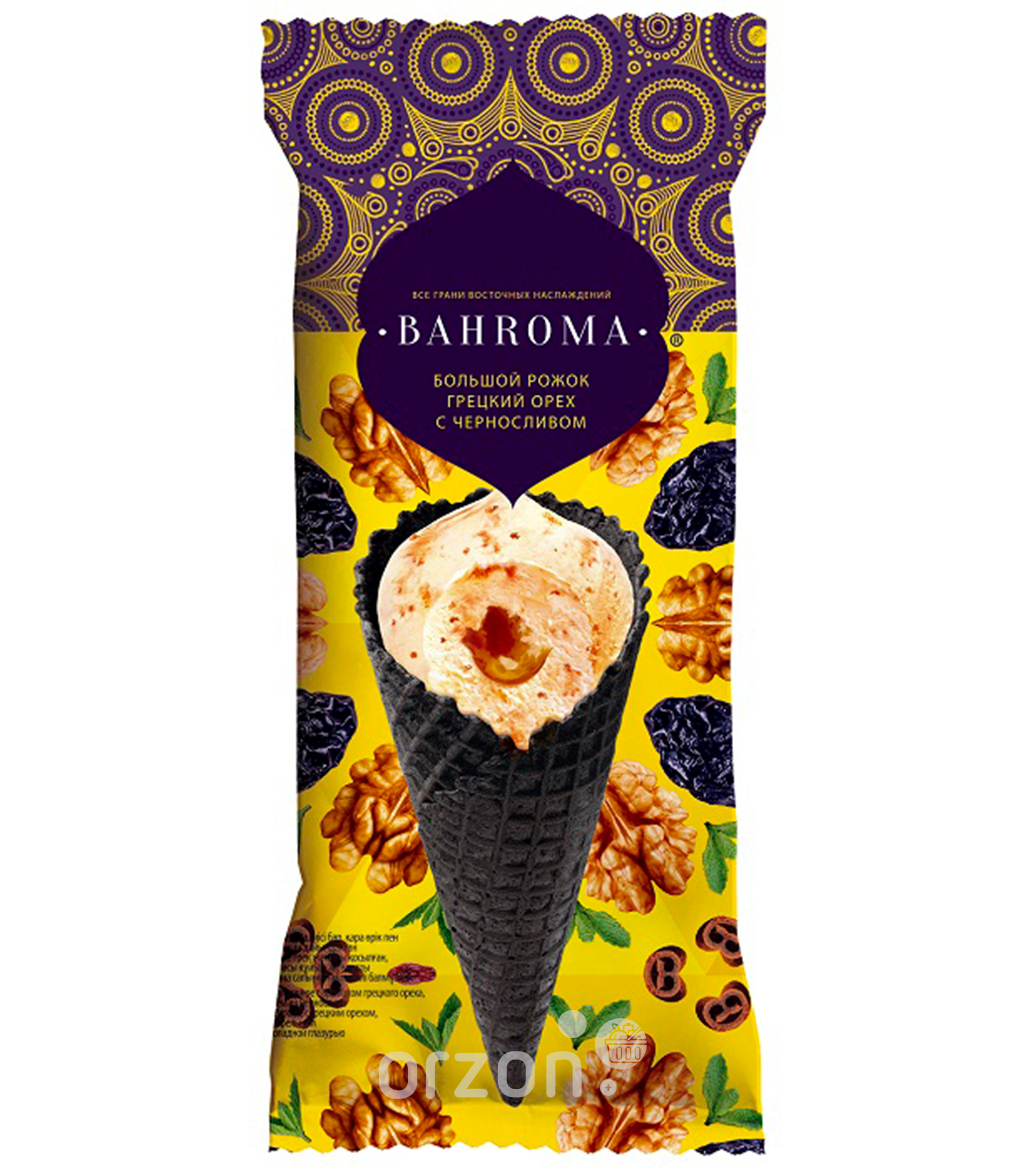 Мороженое BAHROMA, грецкий орех-чернослив, с клен.сиропом БЗМЖ, рожок 105 г.