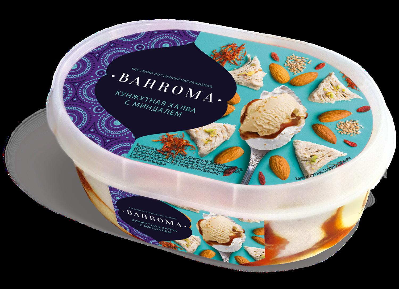 Мороженое BAHROMA, Кунжутная халва с миндалем БЗМЖ, ванна 500 г